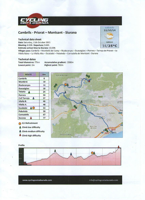 Cycling Costa Daurada itinerary