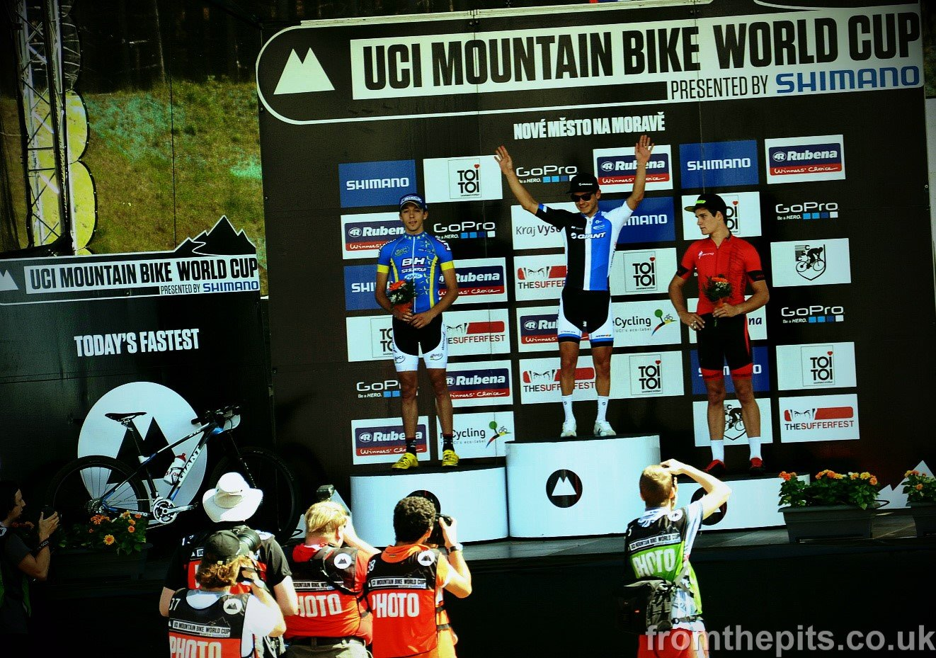 In front of the media, and keeping very good company, on the U23 World Cup XCO podium in Czech Republic
